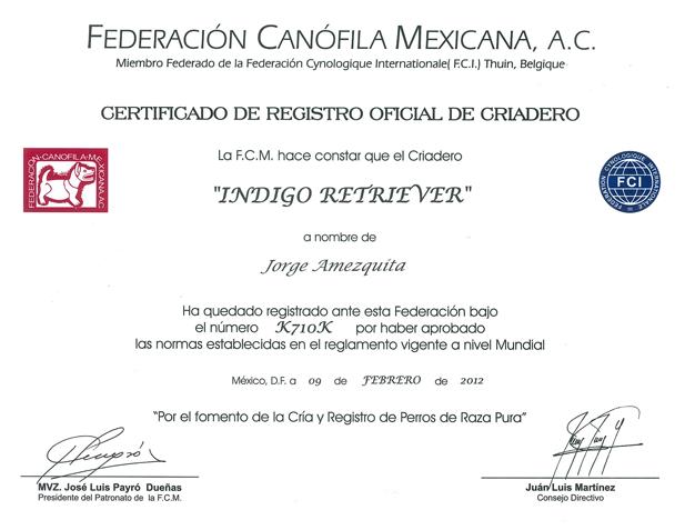 Certificado de Registro Oficial de Criadero
